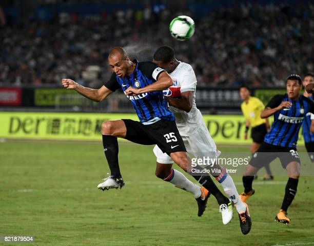 Joao Miranda de Souza Filho of FC Internazionale in action during the 2017 International Champions Cup match between FC Internazionale and Olympique...