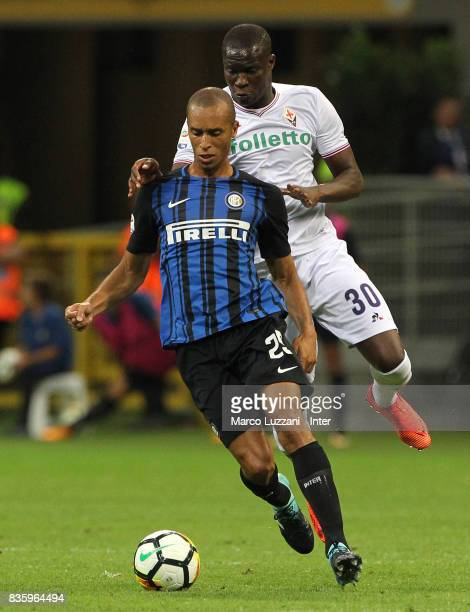 Joao Miranda de Souza Filho of FC Internazionale in action during the Serie A match between FC Internazionale and ACF Fiorentina at Stadio Giuseppe...
