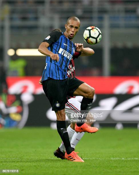 Joao Miranda de Souza Filho of FC Internazionale in action during the Serie A match between FC Internazionale and AC Milan at Stadio Giuseppe Meazza...