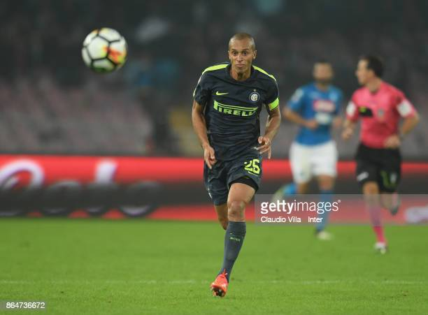 Joao Miranda de Souza Filho of FC Internazionale in action during the Serie A match between SSC Napoli and FC Internazionale at Stadio San Paolo on...