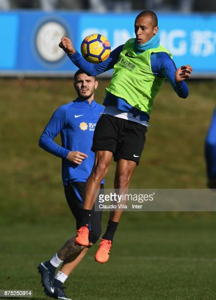 Joao Miranda de Souza Filho of FC Internazionale in action during the FC Internazionale training session at Suning Training Center at Appiano Gentile...