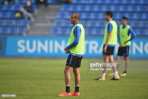 Joao Miranda de Souza Filho of FC Internazionale looks on during the training session at Suning Training Center at Appiano Gentile on October 19 2017...