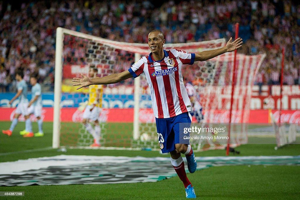 Joao Miranda of Atletico de Madrid celebrates scoring their opening goal during the La Liga match between Club Atletico de Madrid and SD Eibar at...