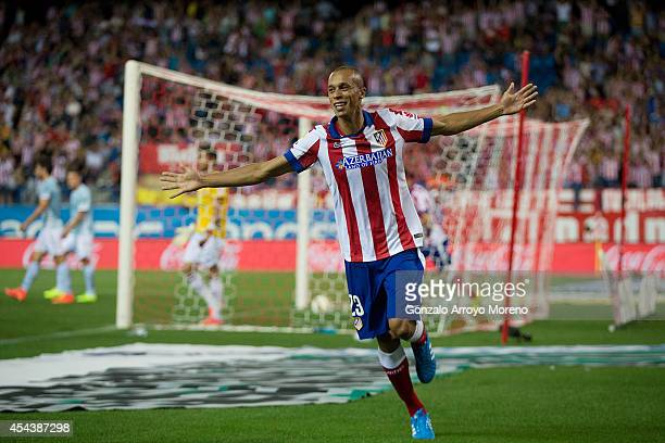 Joao Miranda of Atletico de Madrid celebrates scoring their opening goal during the La Liga match between Club Atletico de Madrid and SD Eibar at...