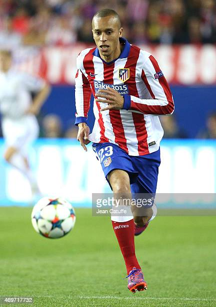 Joao Miranda of Atletico Madrid in action during the UEFA Champions League Quarter Final First Leg match between Atletico Madrid and Real Madrid at...