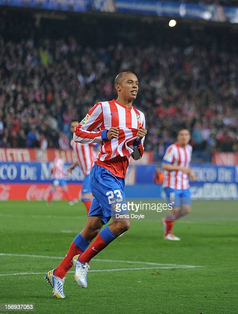Joao Miranda of Club Atletico de Madrid celebrates after scoring his team's 4th goal during the La Liga match between Club Atletico de Madrid and...