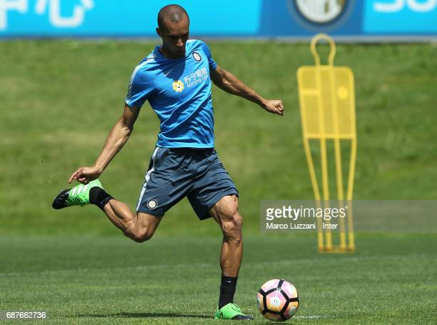 Joao Miranda of FC Internazionale in action during the FC Internazionale training session at the club's training ground Suning Training Center in...