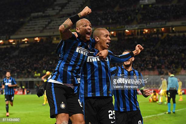 Joao Miranda of FC Internazionale Milano celebrates his goal with team mate Felipe Melo during the Serie A match between FC Internazionale Milano and...