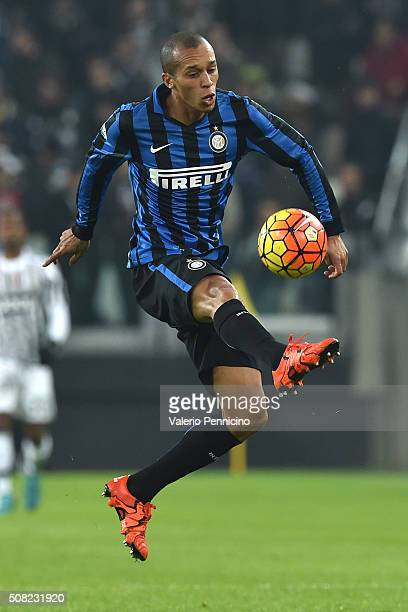 Joao Miranda of FC Internazionale Milano controls the ball during the TIM Cup match between Juventus FC and FC Internazionale Milano at Juventus...