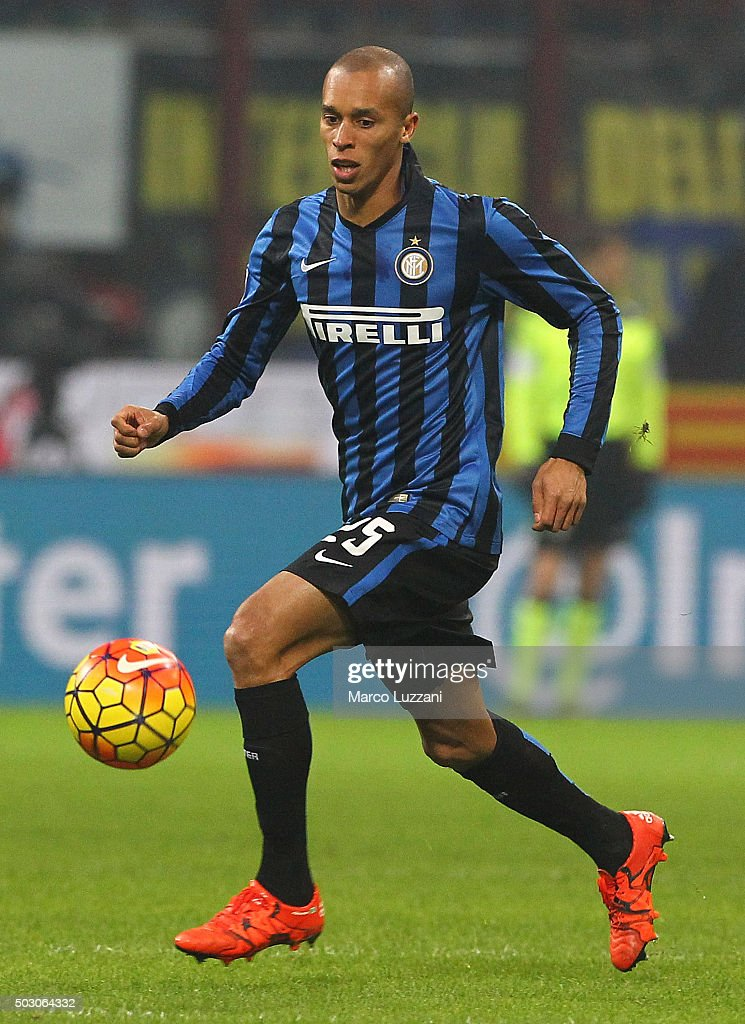 Joao Miranda of FC Internazionale Milano in action during the Serie A match between FC Internazionale Milano and SS Lazio at Stadio Giuseppe Meazza...