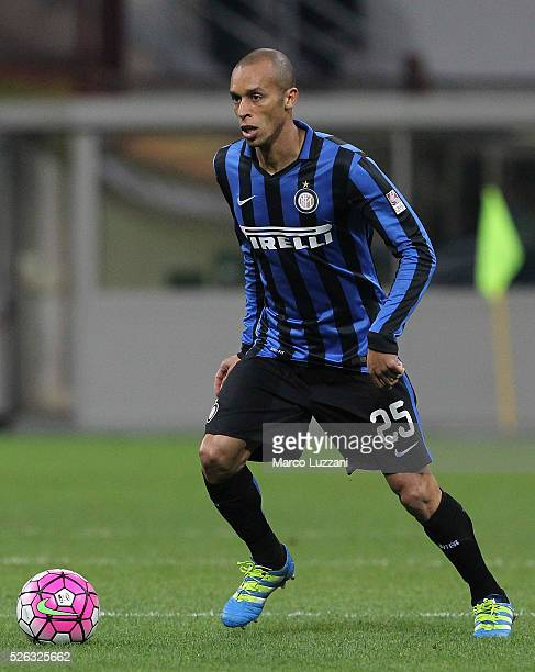 Joao Miranda of FC Internazionale Milano in action during the Serie A match between FC Internazionale Milano and Udinese Calcio at Stadio Giuseppe...