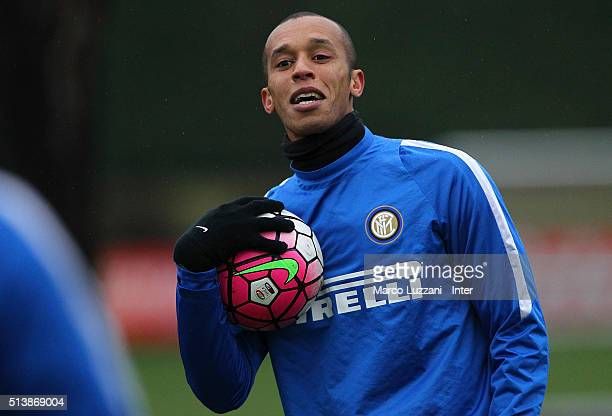 Joao Miranda of FC Internazionale Milano looks on during the FC Internazionale training session at the club's training ground on March 5 2016 in Como...