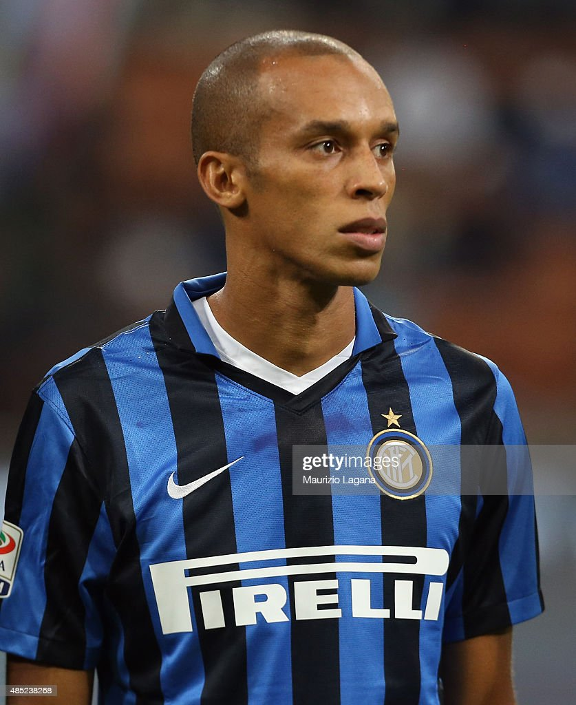 Joao Miranda of Inter during the Serie A match between FC Internazionale Milano and Atalanta BC at Stadio Giuseppe Meazza on August 23 2015 in Milan...