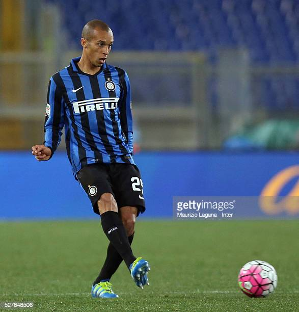 Joao Miranda of Inter during the Serie A match between SS Lazio and FC Internazionale Milano at Stadio Olimpico on May 1 2016 in Rome Italy
