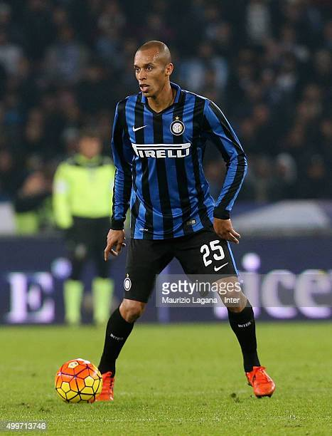 Joao Miranda of Inter during the Serie A match between SSC Napoli and FC Internazionale Milano at Stadio San Paolo on November 30 2015 in Naples Italy