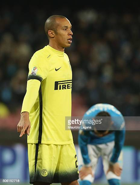 Joao Miranda of Inter during the TIM Cup match between SSC Napoli and FC Internazionale Milano at Stadio San Paolo on January 19 2016 in Naples Italy