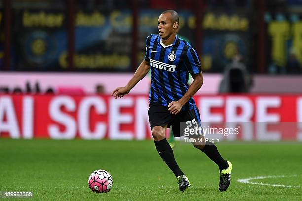 Joao Miranda of Internazionale Milano in action during the Serie A match between FC Internazionale Milano and Hellas Verona FC at Stadio Giuseppe...