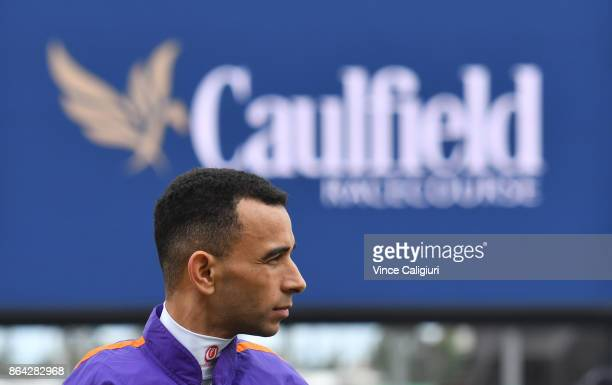 Joao Moreira is seen at the pre ceremony during Melbourne Racing on Caulfield Cup Day at Caulfield on October 21 2017 in Melbourne Australia