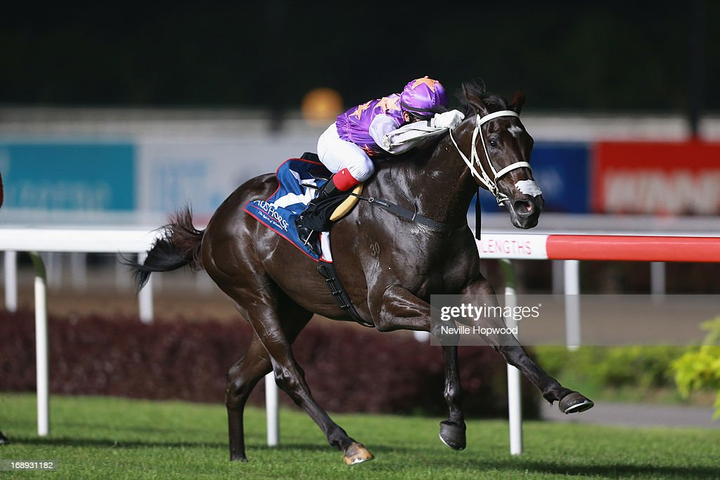 Joao Moreira rides War Affair to win the Group 2 Aushorse Golden Horseshoe during Singapore racing at Kranji on May 17, 2013 in Singapore.