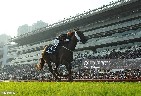 Joao Moreira riding Able Friend winning Race 7 The LONGINES Hong Kong Mile during International Race day at Sha Tin racecourse on December 14 2014 in...
