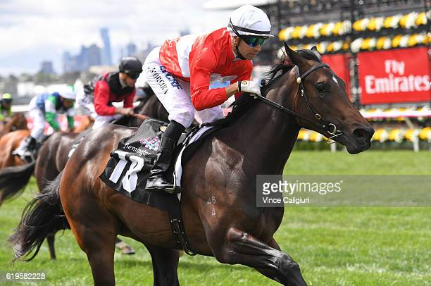 Joao Moreira riding Invincible Star wins Race 1 Ottawa Stakes on Melbourne Cup Day at Flemington Racecourse on November 1 2016 in Melbourne Australia