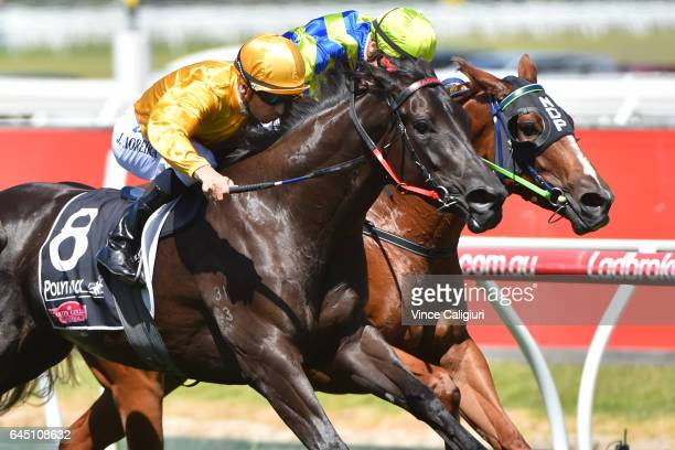 Joao Moreira riding Savanna Amour defeats Steven Parnham riding Ellicazoom in Race 4 Armanasco Stakes during Melbourne Racing at Moonee Valley...