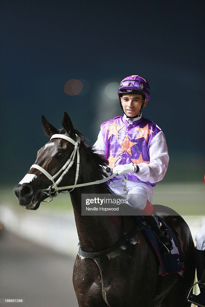 Joao Moreira riding War Affair after winning the Group 2 Aushorse Golden Horseshoe during Singapore racing at Kranji on May 17, 2013 in Singapore.
