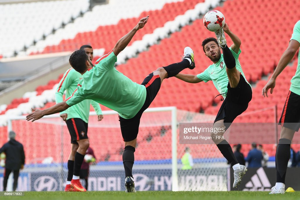 Joao Moutinho and Bernardo Silva in action during the Portugal Training and Press Conference on June 17, 2017 in Kazan, Russia.