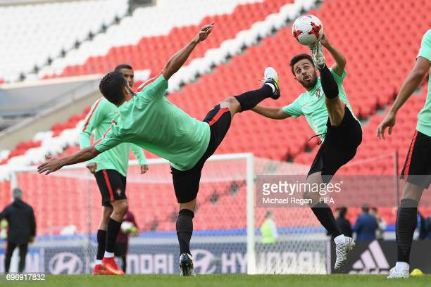 Joao Moutinho and Bernardo Silva in action during the Portugal Training and Press Conference on June 17 2017 in Kazan Russia