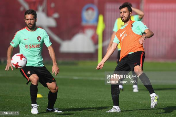 Joao Moutinho and Bernardo Silva in action during the Portugal training session on June 16 2017 in Kazan Russia