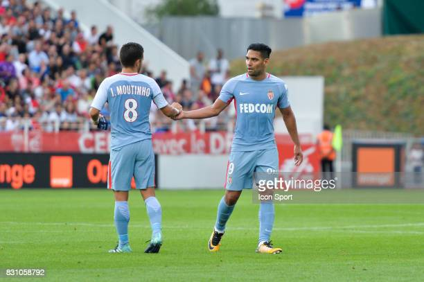Joao Moutinho and Radamel Falcao of Monaco during the Ligue 1 match between Dijon FCO and AS Monaco at Stade Gaston Gerard on August 13 2017 in Dijon