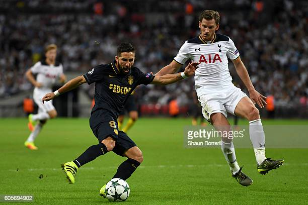 Joao Moutinho of AS Monaco and Jan Vertonghen of Tottenham Hotspur in action during the UEFA Champions League match between Tottenham Hotspur FC and...