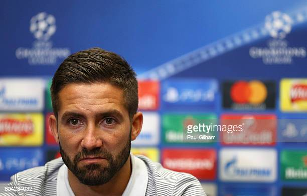 Joao Moutinho of AS Monaco looks on during the AS Monaco press conference ahead of their UEFA Champions League Group E match against Tottenham...