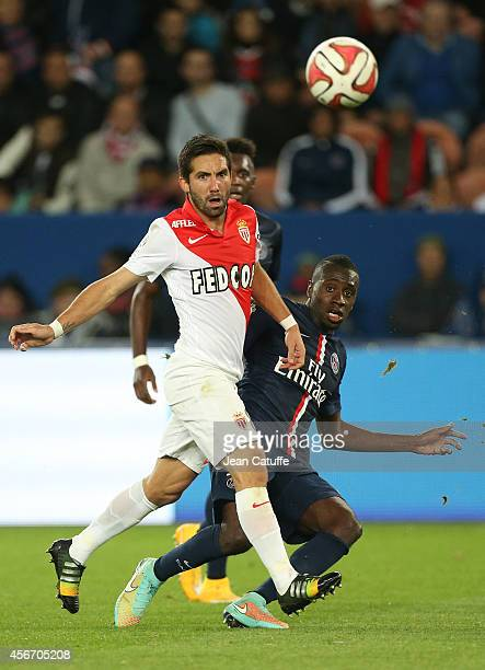 Joao Moutinho of Monaco and Blaise Matuidi of PSG in action during the French Ligue 1 match between Paris SaintGermain FC and AS Monaco at Parc des...