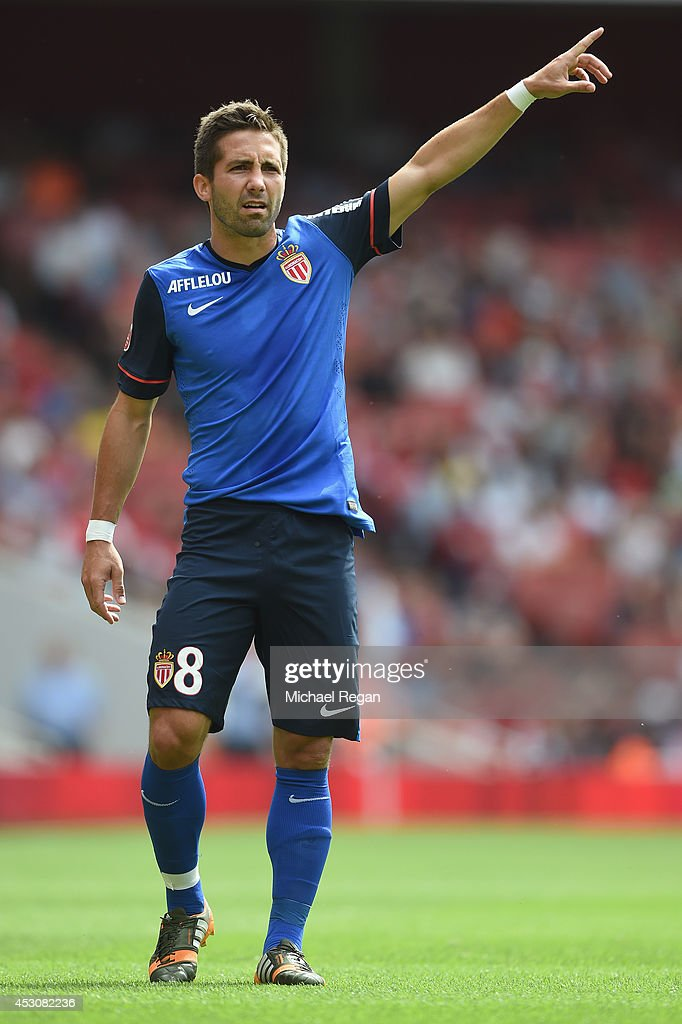 Joao Moutinho of Monaco gestures during the Emirates Cup match between Valencia and AS Monaco at the Emirates Stadium on August 2 2014 in London...