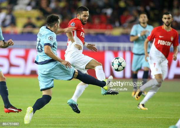 Joao Moutinho of Monaco Hector Herrera of FC Porto during the UEFA Champions League group G match between AS Monaco and FC Porto at Stade Louis II on...
