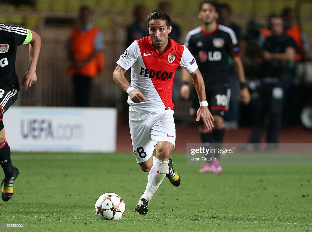 Joao Moutinho of Monaco in action during the UEFA Champions League Group C match between AS Monaco FC and Bayer Leverkusen at Stade Louis II on...