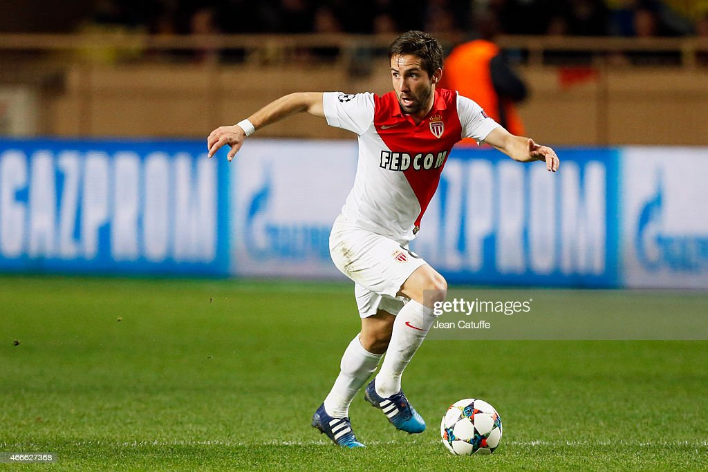Joao Moutinho of Monaco in action during the UEFA Champions League round of 16 match between AS Monaco FC and Arsenal FC at Stade Louis II on March...
