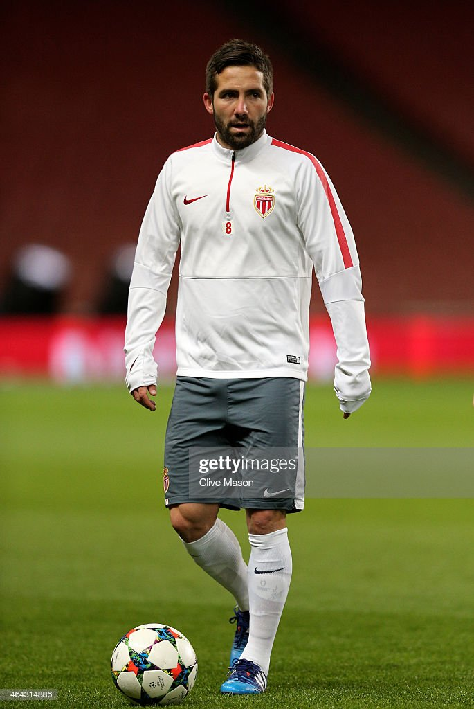 Joao Moutinho of Monaco looks on during the AS Monaco training session ahead of the UEFA Champions League round of 16 match against Arsenal at the...