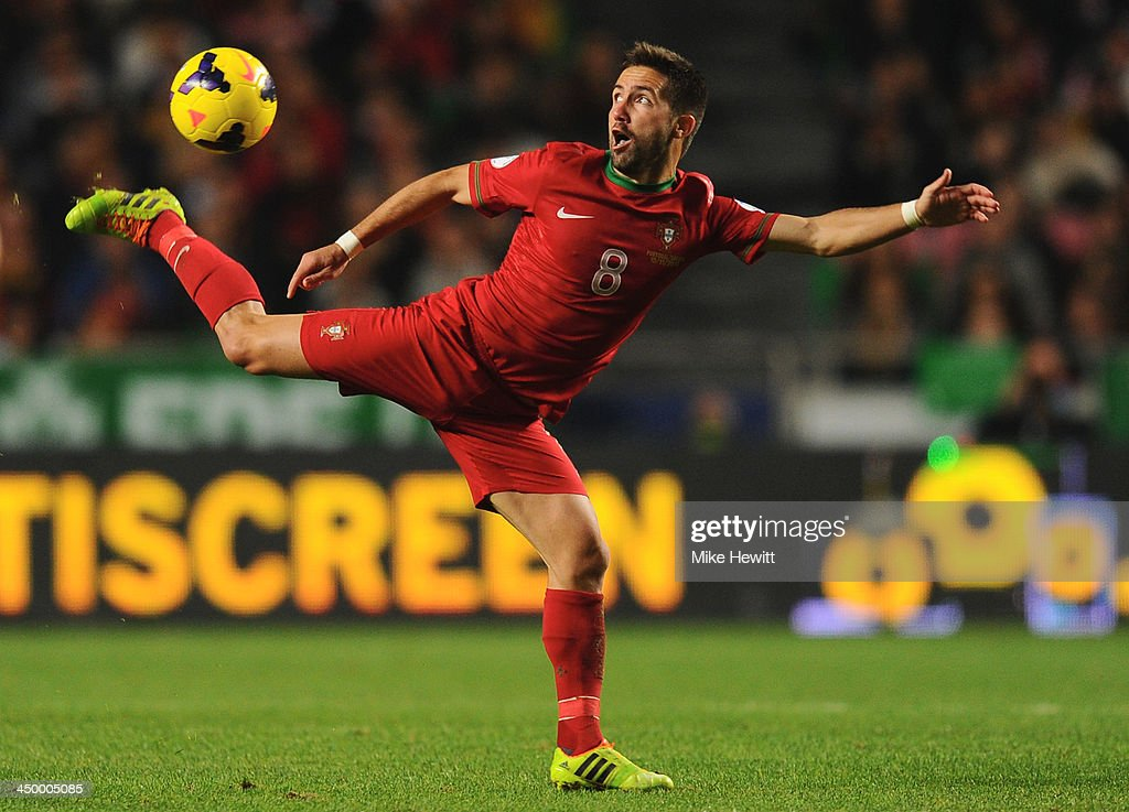 Joao Moutinho of Portugal in action during the FIFA 2014 World Cup Qualifier Playoff First Leg between Portugal and Sweden at Estadio da Luz on...