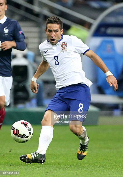 Joao Moutinho of Portugal in action during the international friendly match between France and Portugal at Stade de France on October 11 2014 in...
