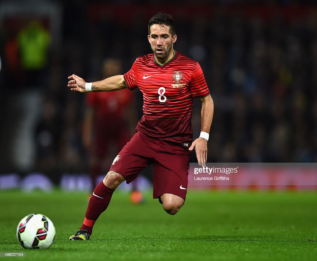 Joao Moutinho of Portugal in action during the International Friendly match between Argentina and Portugal at Old Trafford on November 18, 2014 in Manchester, England.