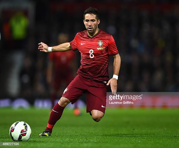 Joao Moutinho of Portugal in action during the International Friendly match between Argentina and Portugal at Old Trafford on November 18 2014 in...
