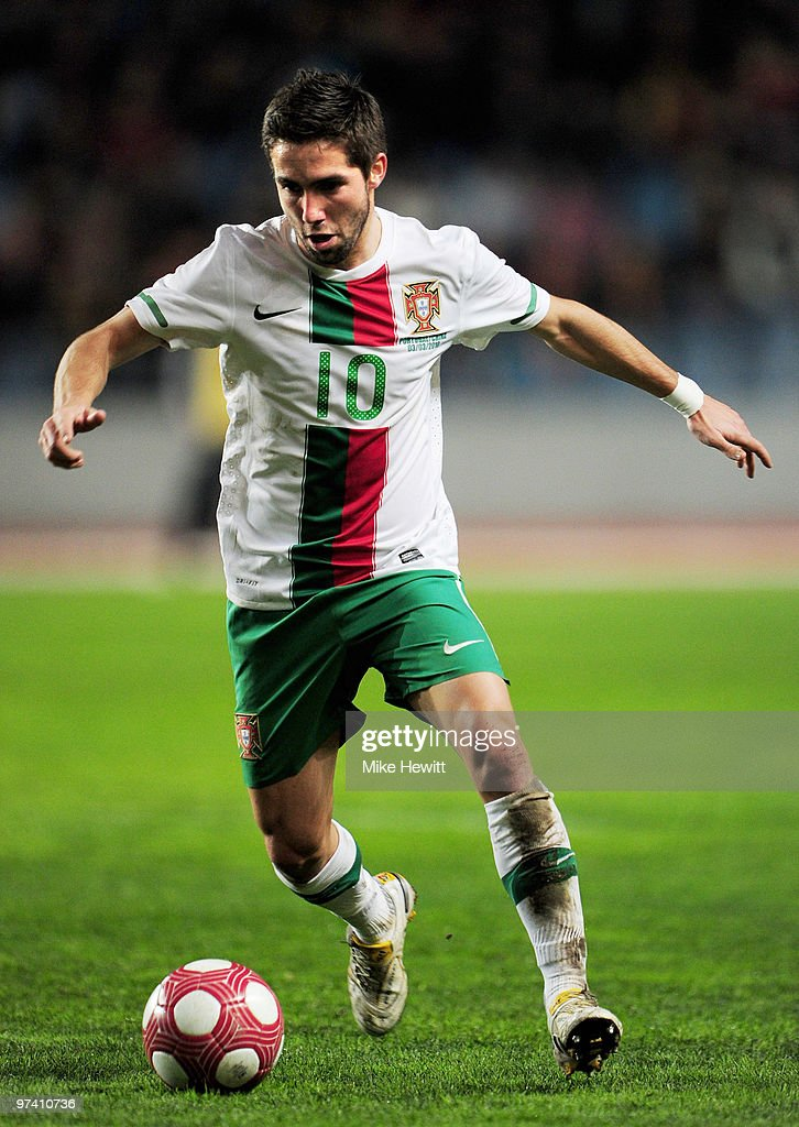 Joao Moutinho of Portugal in action during the International Friendly match between Portugal and Republic of China at the City of Coimbra Stadium on March 3, 2010 in Coimbra, Portugal.