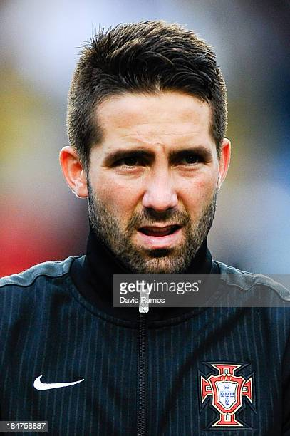 Joao Moutinho of Portugal looks on priot to the FIFA 2014 World Cup Qualifier match between Portugal and Luxembourg at Estadio Cidade de Coimbra on...