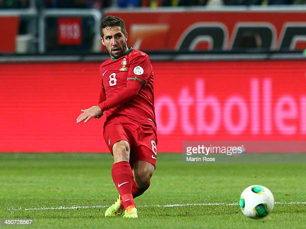 Joao Moutinho of Portugal runs with the ball during the FIFA 2014 World Cup Qualifier Playoff Second Leg match between Sweden and Portugal at Friends...