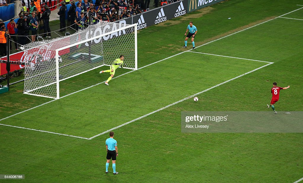 Joao Moutinho of Portugal scores at the penalty shootout during the UEFA EURO 2016 quarter final match between Poland and Portugal at Stade Velodrome on June 30, 2016 in Marseille, France.