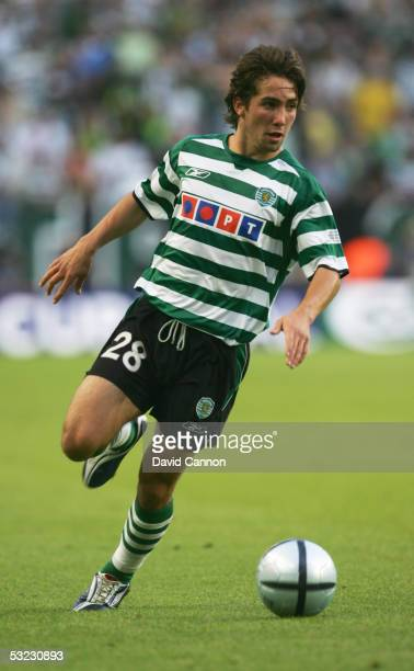 Joao Moutinho of Sporting Lisbon in action during the UEFA Cup Final between CSKA Moscow and Sporting Lisbon at the Jose Alvalade Stadium on May 18...