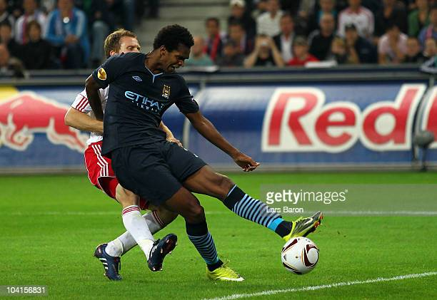 Joao of Manchester scores the second goal during the UEFA Europa League group G match between FC Red Bull Salzburg and Manchester City at Salzburg...