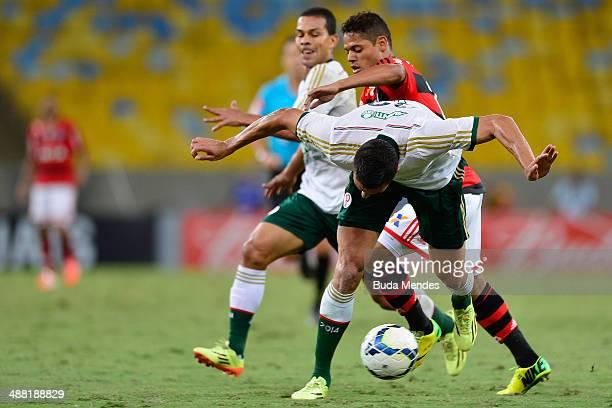 Joao Paulo of Flamengo struggles for the ball with Lucio of Palmeiras during a match between Flamengo and Palmeiras as part of Brasileirao Series A...